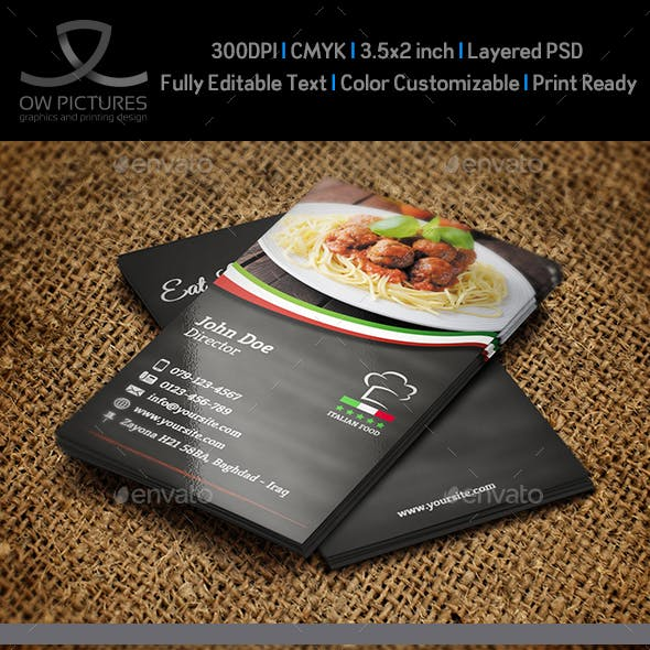 Italian Restaurant Business Card Template