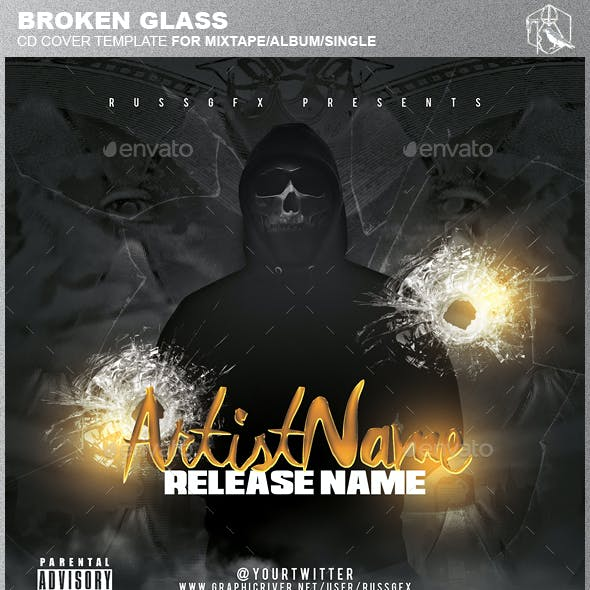Broken Glass PSD CD Mixtape Cover Template