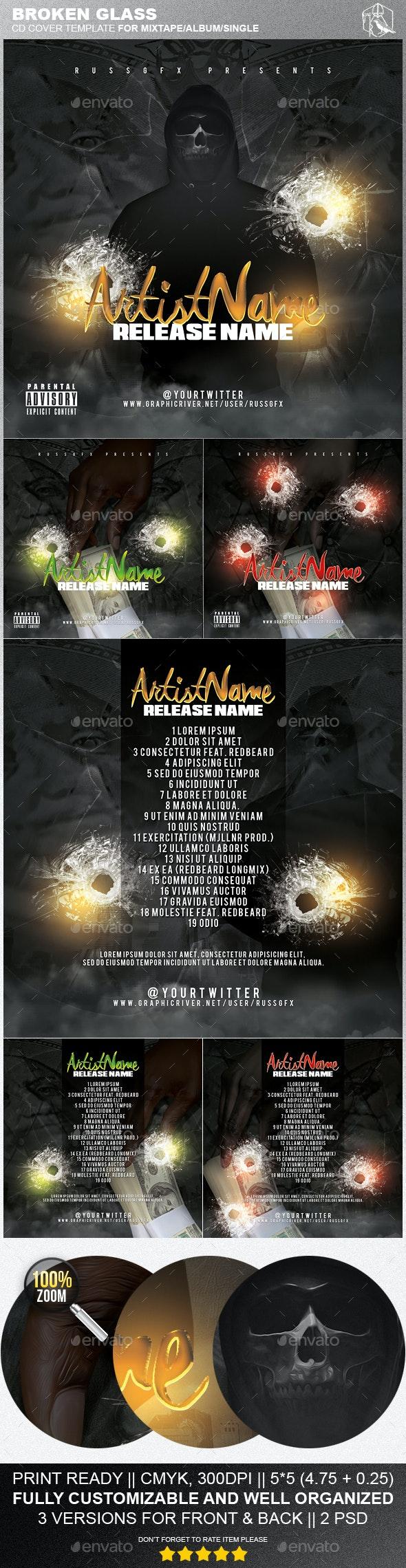 Broken Glass PSD CD Mixtape Cover Template - CD & DVD Artwork Print Templates