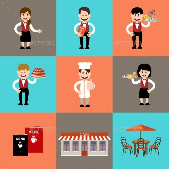 The Service Personnel In Cafe And Restaurants