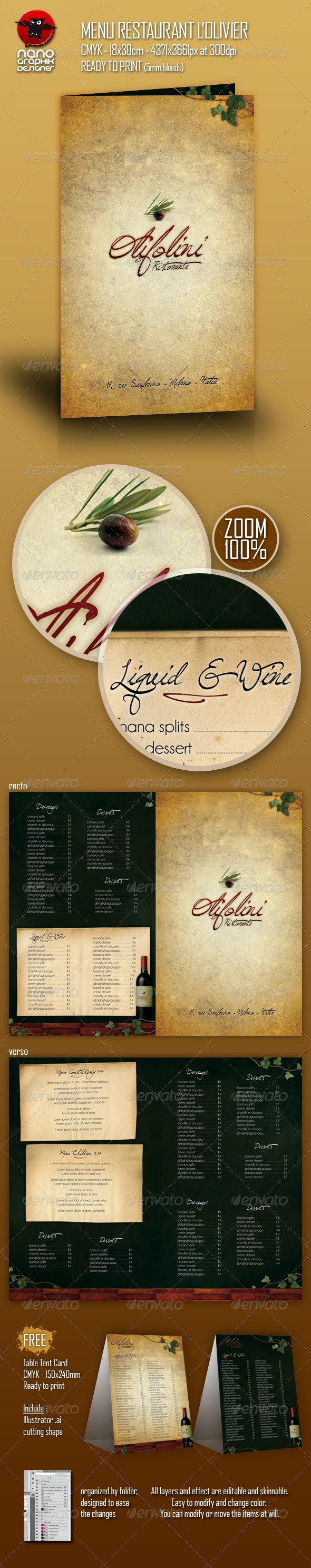 Menu Restaurant L'olivier - Food Menus Print Templates
