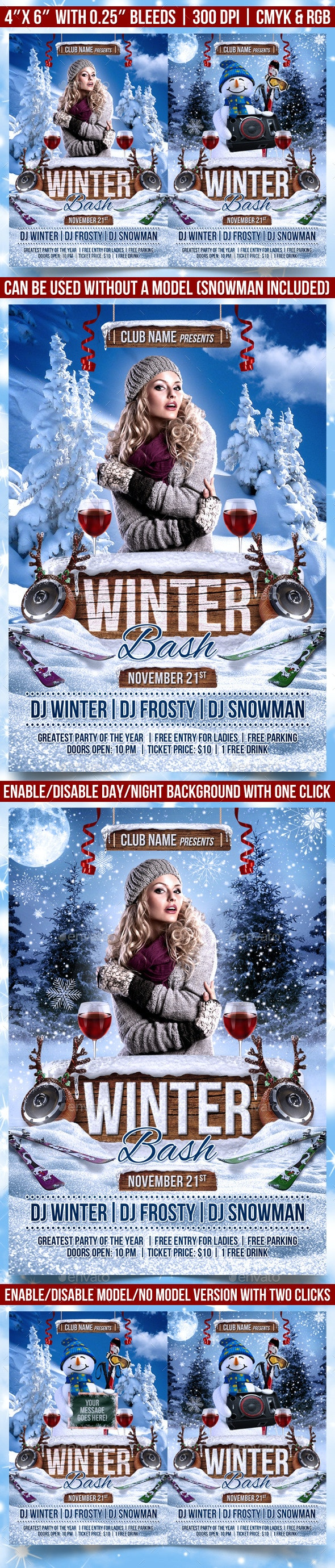 Winter Bash Flyer - Clubs & Parties Events