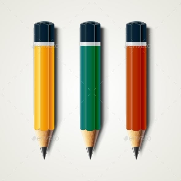 Realistic Detailed Sharpened Pencils Isolated