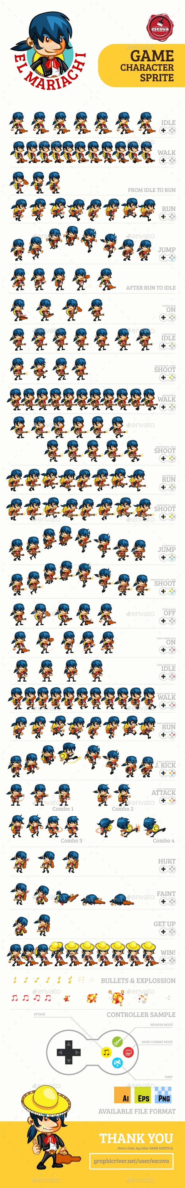 El Mariachi Game Character Sprites