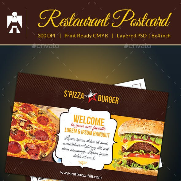 Restaurant Postcard With Coupon Code