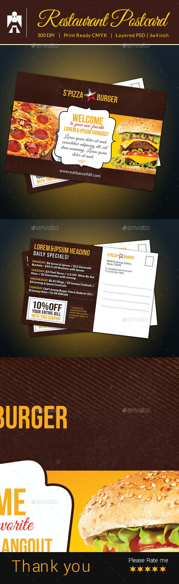 Restaurant Postcard With Coupon Code - Cards & Invites Print Templates