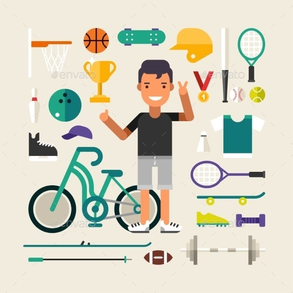 Set Of Vector Icons And Illustrations In Flat - Sports/Activity Conceptual