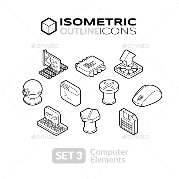 Isometric Outline Icons Set 3