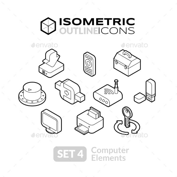 Isometric Outline Icons Set 4