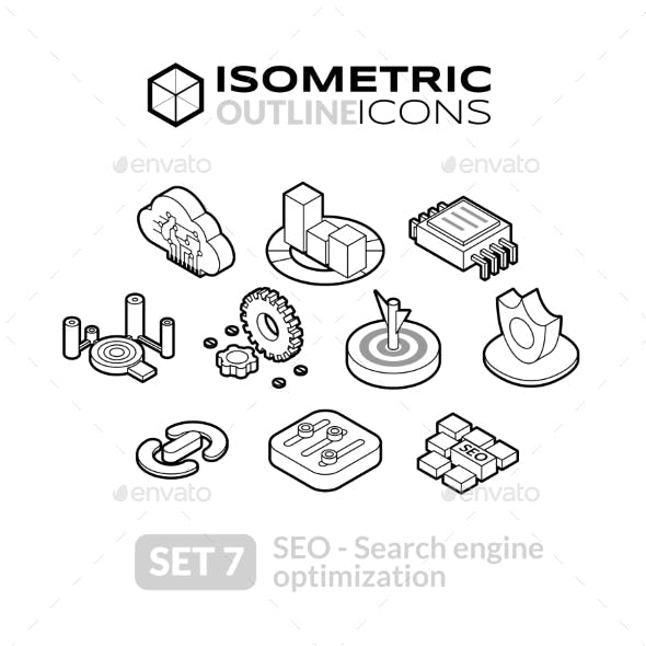 Isometric Outline Icons Set 7