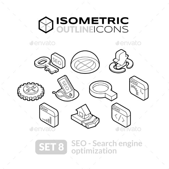 Isometric Outline Icons Set 8