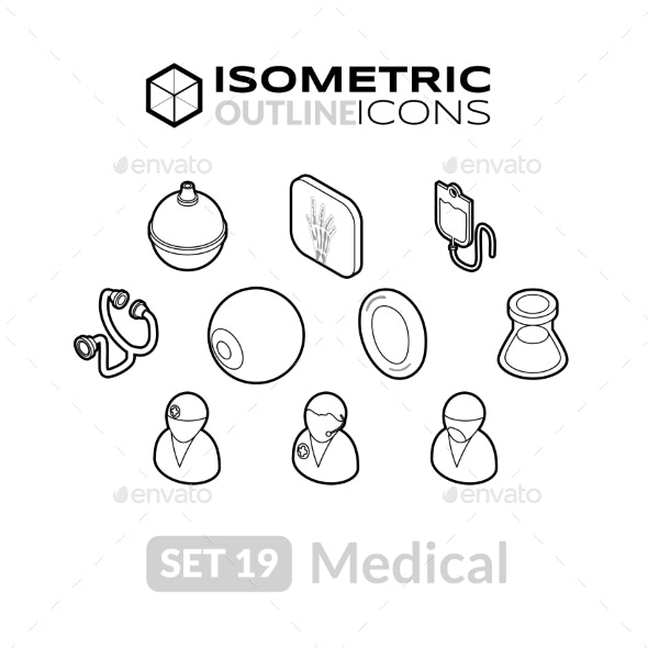 Isometric Outline Icons Set 19 - Icons