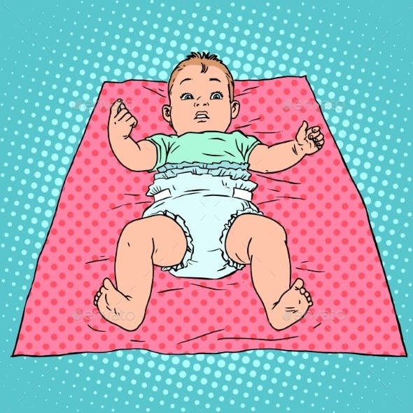 Surprised Baby in Diaper