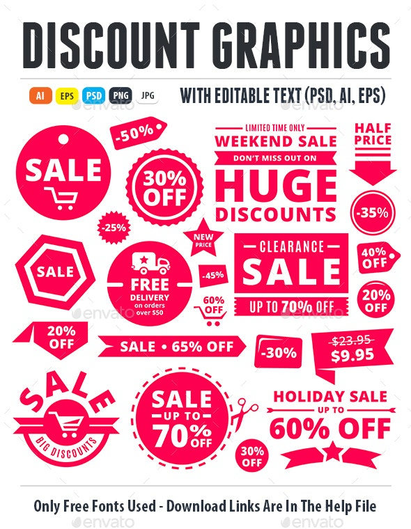 Modern Discount Sale Tags, Badges And Ribbons - Miscellaneous Web Elements