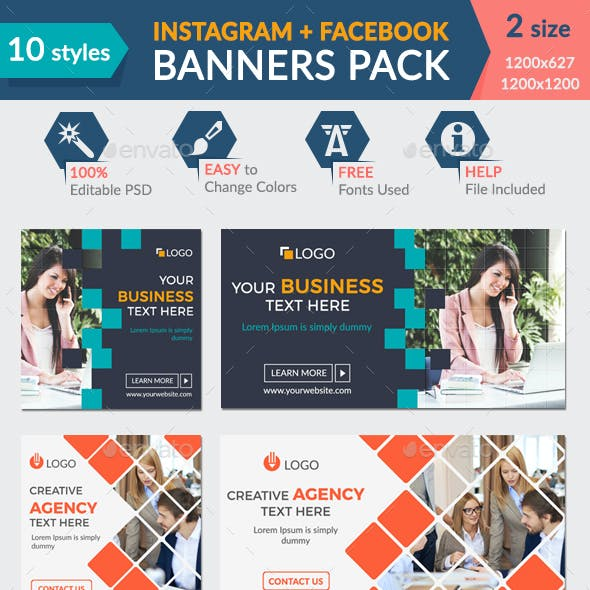 Facebook + Instagram Banners Pack-1