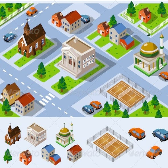 Map of City Hall Set of detailed isometric vector