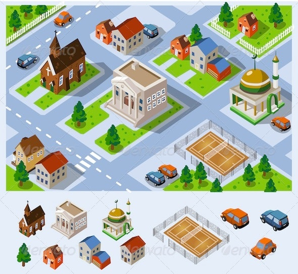 Map of City Hall Set of detailed isometric vector - Buildings Objects