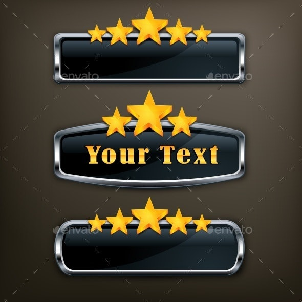 Metallic Icons with Gold Stars  - Miscellaneous Vectors