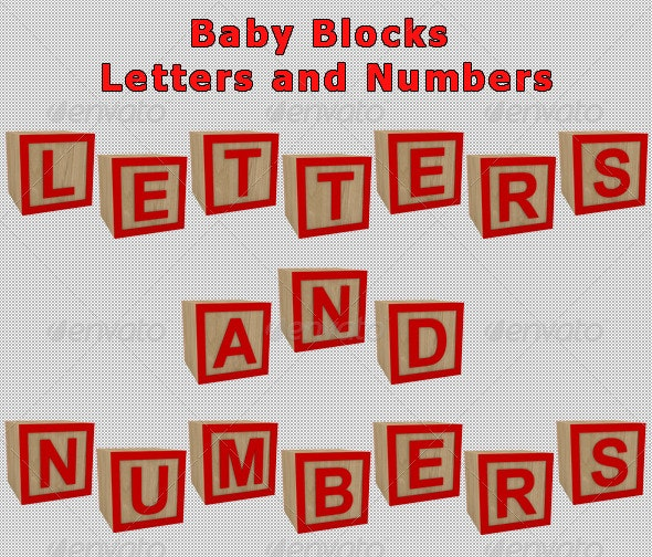 Baby Blocks Letters and Numbers - Miscellaneous 3D Renders