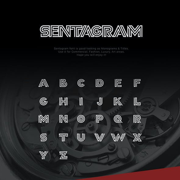 Sentagram logo and monogram font