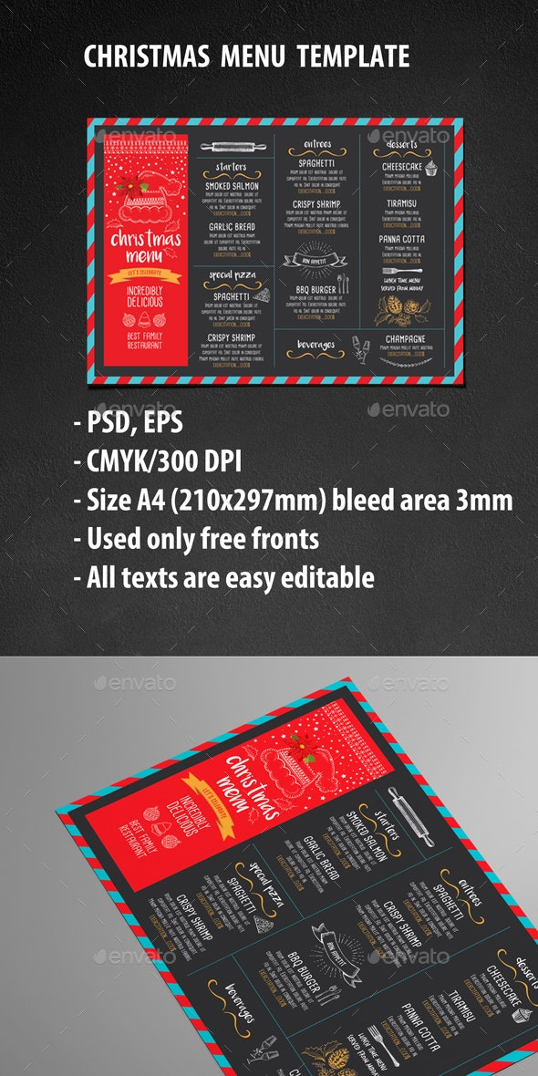 Christmas Menu Restaurant - Food Menus Print Templates