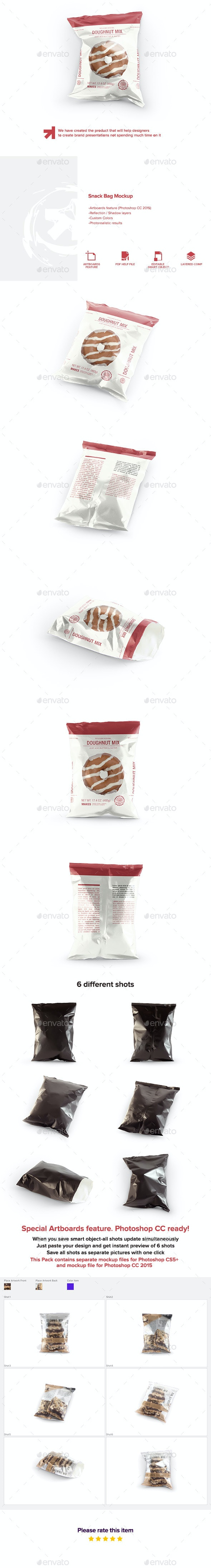 Snack Bag Pouch Mockup - Food and Drink Packaging