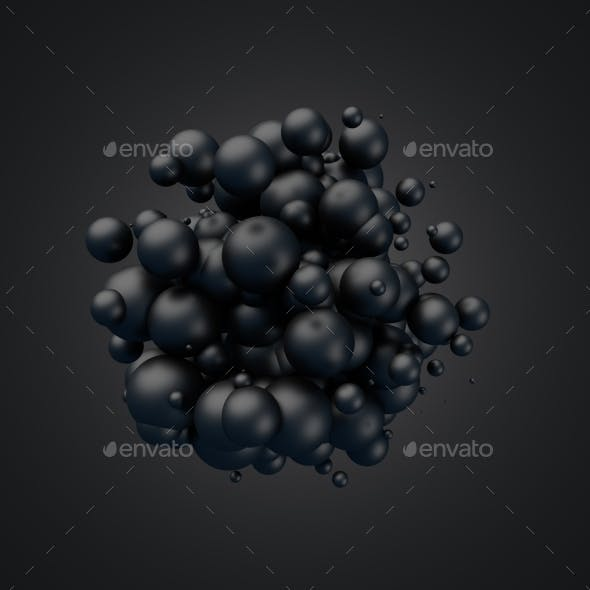 Abstract 3D Rendering Of Flying Spheres.