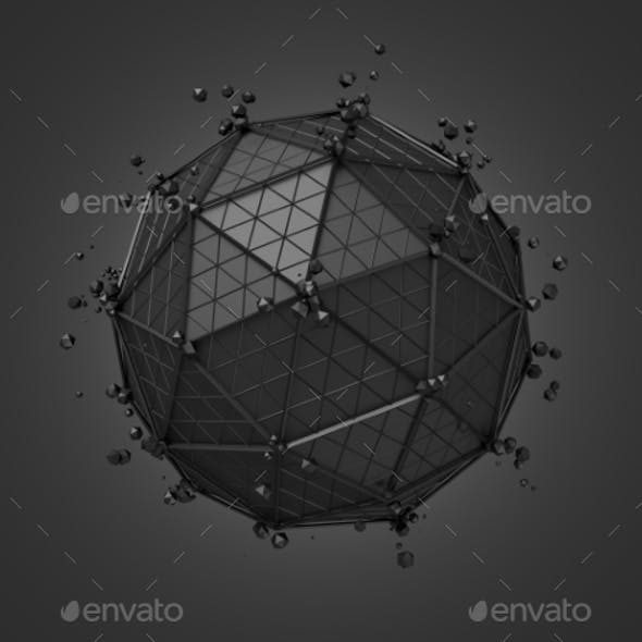 Polygonal Black Sphere With Wireframe.