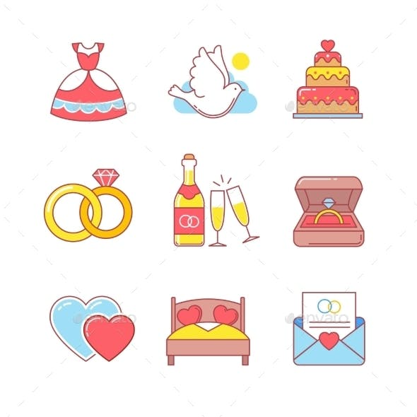 Wedding And Marriage Thin Line Icons Set