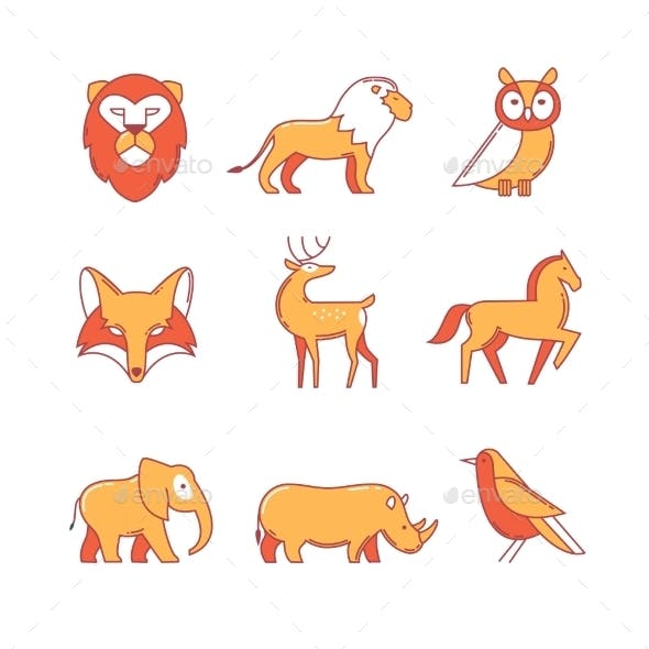 Popular Wild Life Animals Thin Line Icons Set