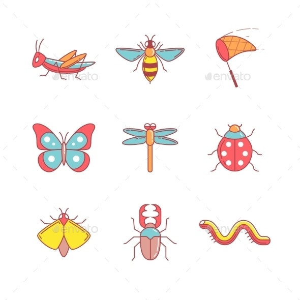 Insects Thin Line Icons Set - Animals Characters
