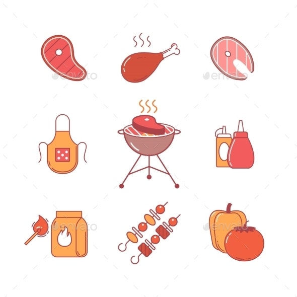 Barbecue, Outdoor Meat And Fish Steak Grill Frying - Icons