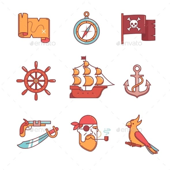 Pirate Icons Thin Line Set