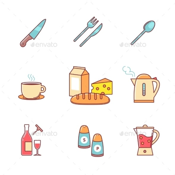 Food And Drink Icons Thin Line Set