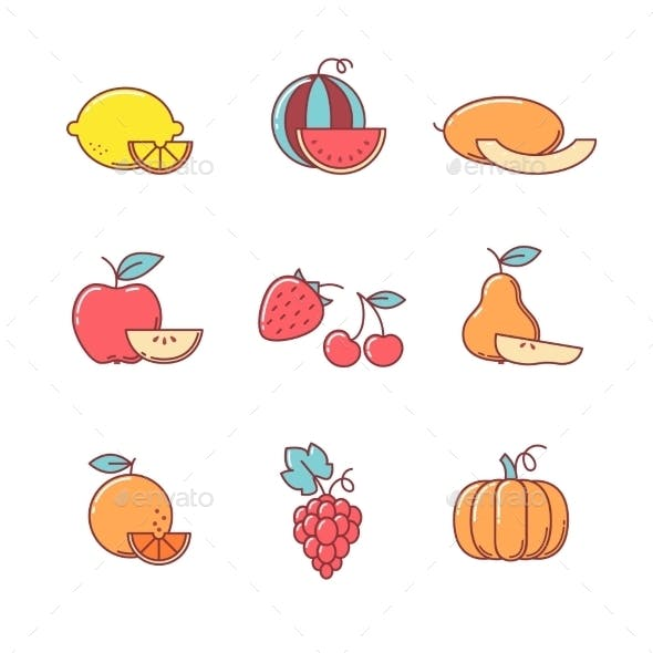 Fruit Icons Thin Line Set