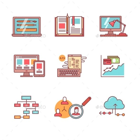 Web And App Development, Programming Icons Set