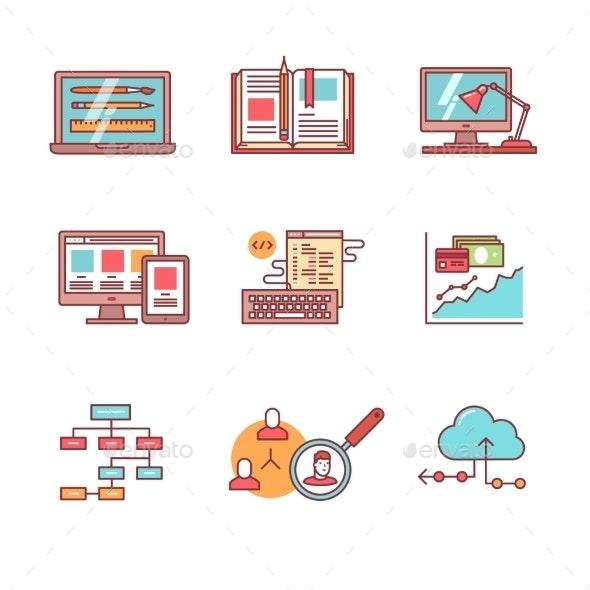 Web And App Development, Programming Icons Set - Technology Icons