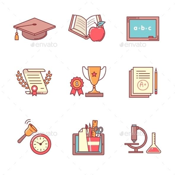 Education Icons Thin Line Set