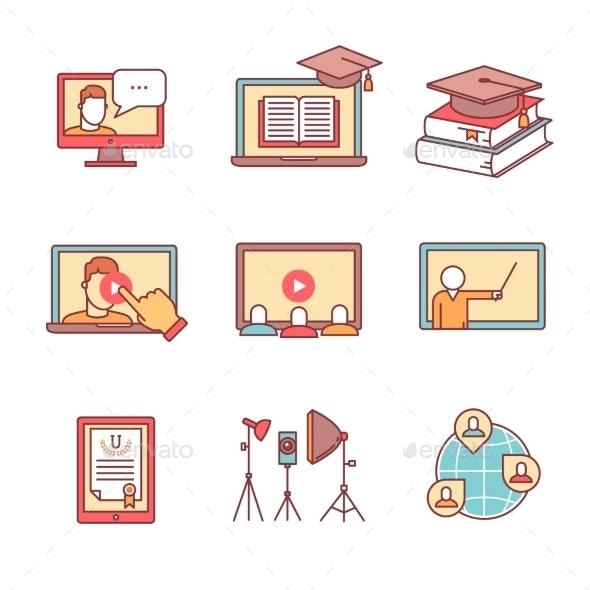 Online Seminar Icons Thin Line Set. Webinar - Technology Icons
