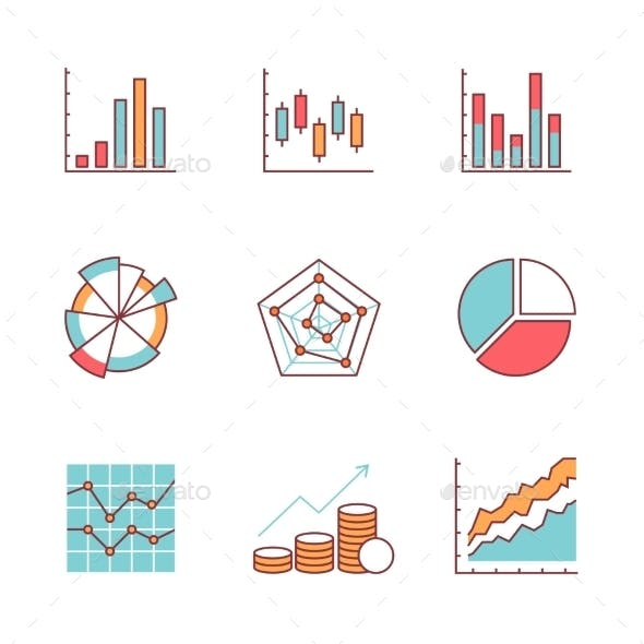 Business Charts And Data Icons Thin Line Set