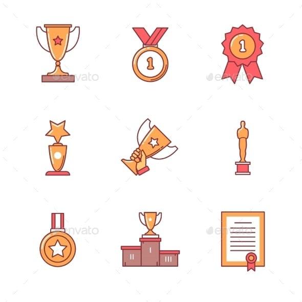 Award Winner Icons Thin Line Set