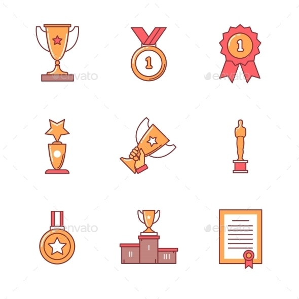 Award Winner Icons Thin Line Set - Objects Icons
