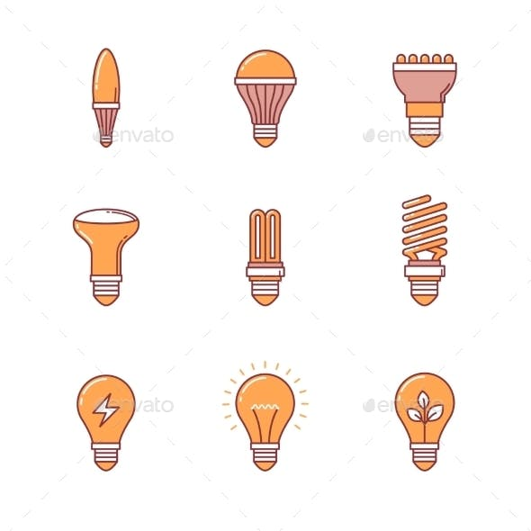 Light Bulb Icons Thin Line Set