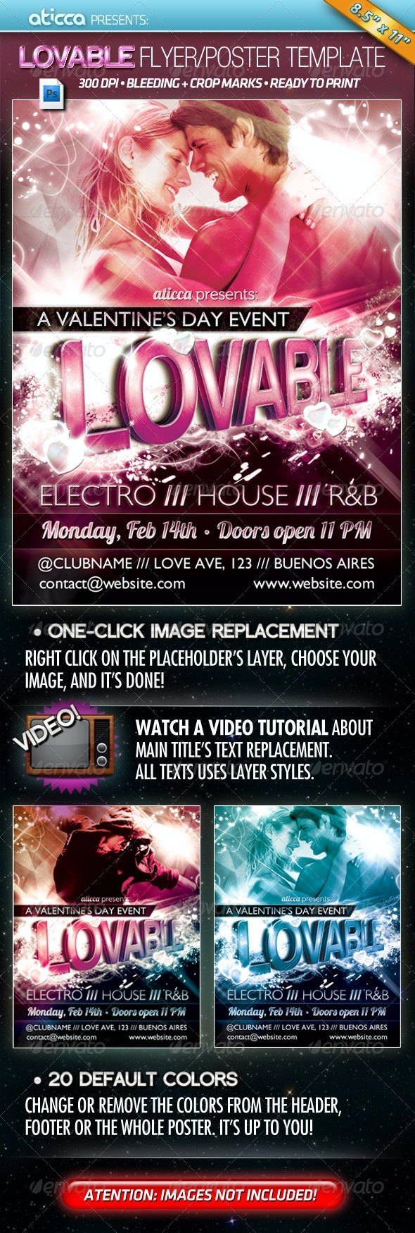 Lovable - Valentine's Poster Template   - Clubs & Parties Events