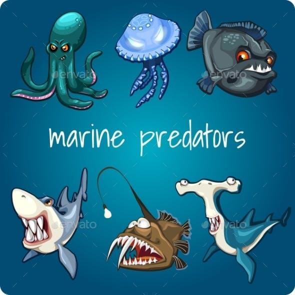 Shark, Piranha, Jellyfish And Other