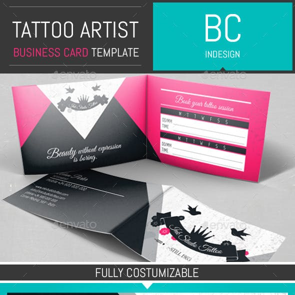 Tattoo Artist Folded Business Card Template