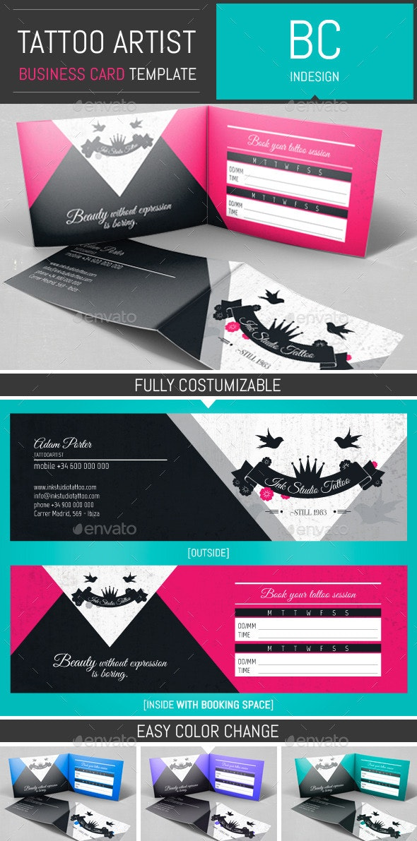 Tattoo Artist Folded Business Card Template - Industry Specific Business Cards