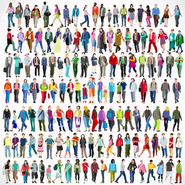 Walking Flat 01 People 2D