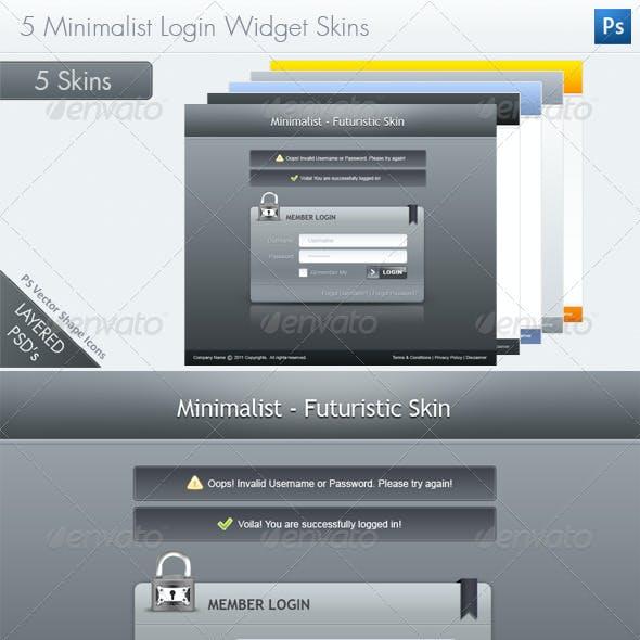 5 Minimalist Login Widget Skins