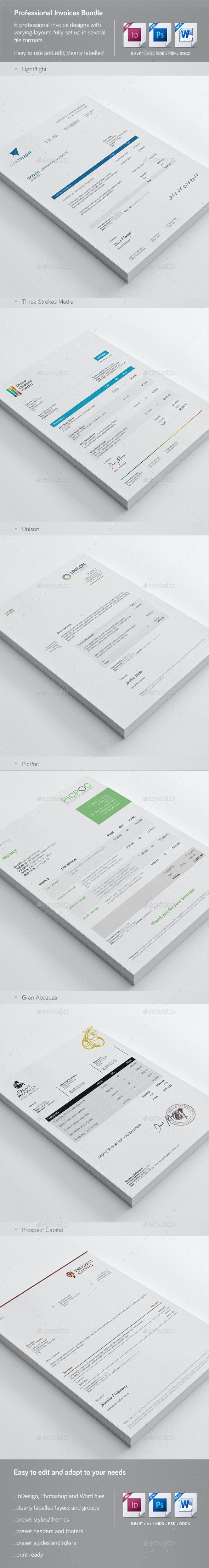 Professional Invoice Templates Bundle 1 - Proposals & Invoices Stationery
